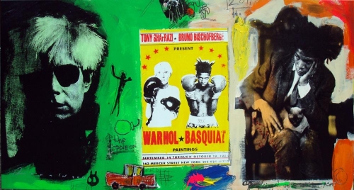 Warholl vs Basquiat in green & white