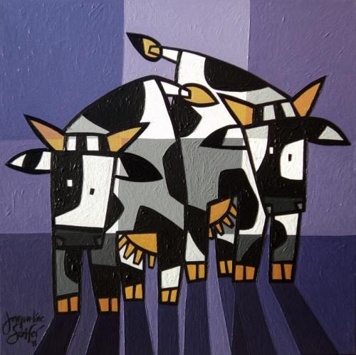 Twee gekke koeien in paars