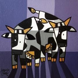 Jacqueline Schäfer | Twee gekke koeien in paars