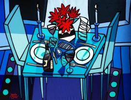 Jacqueline Schäfer | Tafel voor twee in blauw, met rode bloemen in zwart/witte vaas